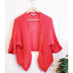 🎉Neiman Marcus Coral 100% Cashmere Knit Shrug🎉